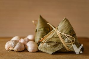 Traditional vegan or vegetarian wrapped rice dumplings.